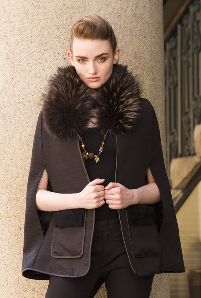 Black Cape with Shearling Pockets