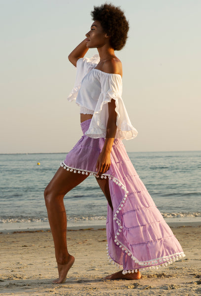 Lilac Flirt Skirt Beach Cover with White Pom Poms
