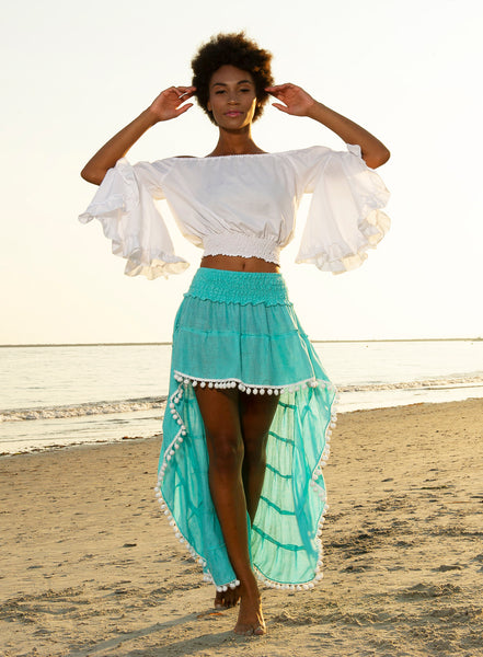 Turquoise Flirt Skirt Beach Cover with White Pom Poms