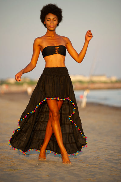Black Flirt Skirt Beach Cover with Rainbow Pom Poms