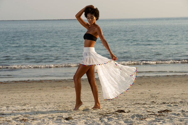 White Flirt Skirt Beach Cover with Rainbow Pom Poms