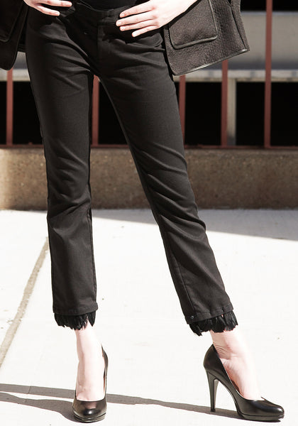 Stretch Cotton Pants with Feather Trim Detail