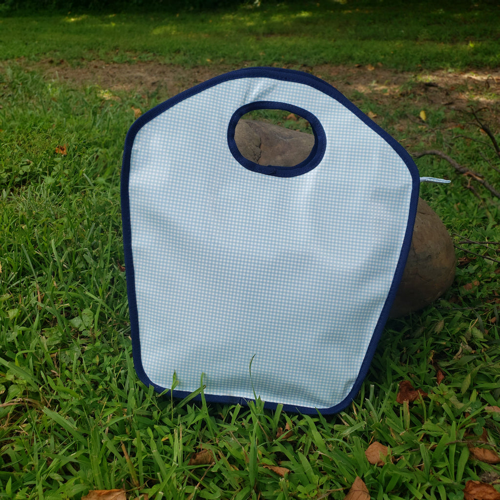 Navy and Light Blue Gingham Keyhole Bag