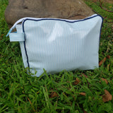 Navy and Light Blue Striped Toiletry Pouch