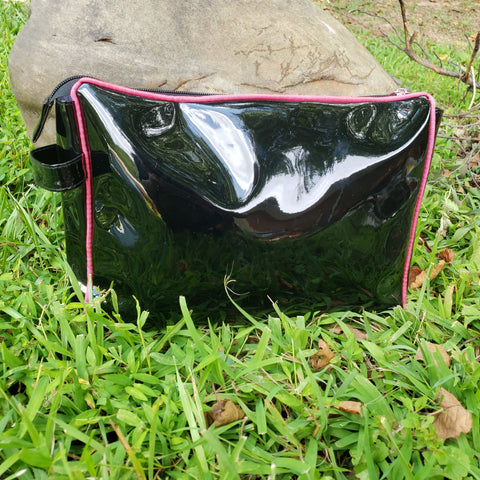 Black and Pink Patent Toiletry Pouch