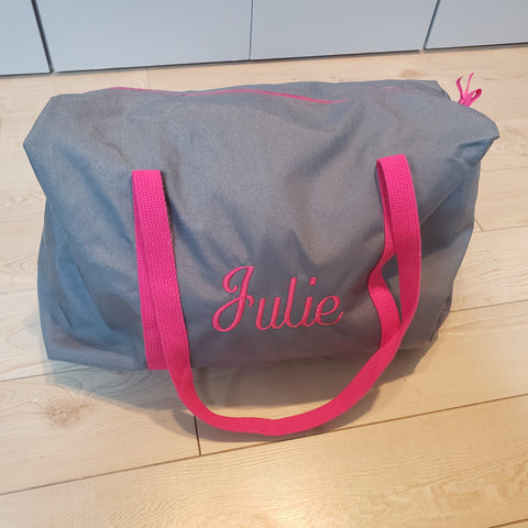 Girls Gray and Hot Pink Duffle