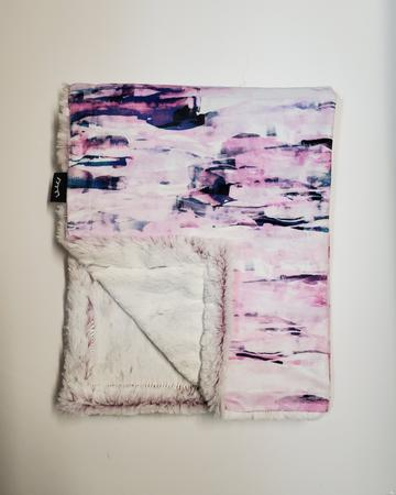 Pink Abstract Minky Blanket