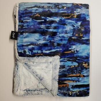 Navy Abstract Minky Blanket