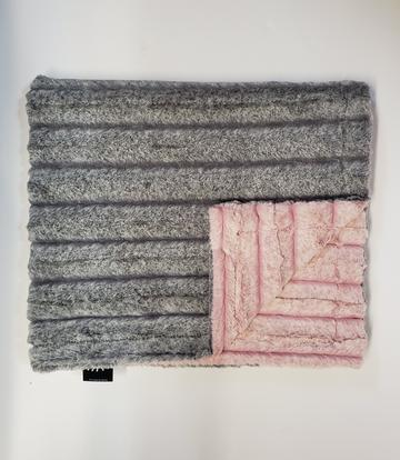 Frosted Gray and Rosewater Glam Minky Blanket