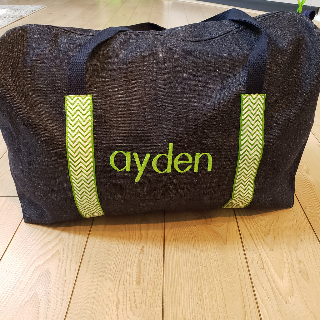ayden Denim Duffle with lime straps