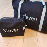 Denim with Light Blue Toiletry Bag
