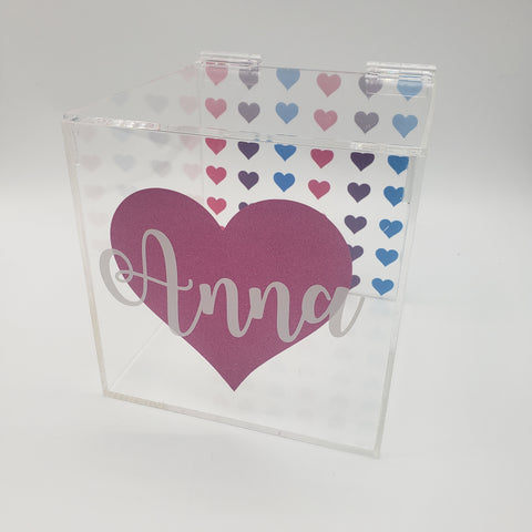 Multi-Color Heart Lucite Box