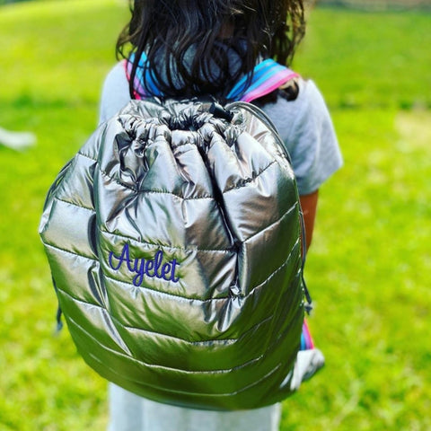 Metallic Puffer Sling Backpack Bag w/ Pink Purple and Blue Stripes