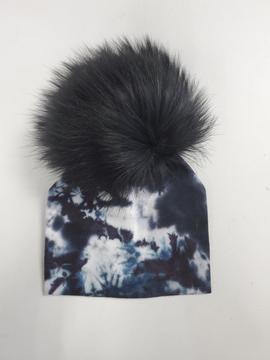 Tiedye Black Pompom Cotton Hat