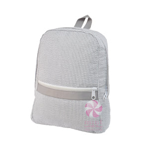 Mini Gray Seersucker Backpack