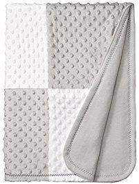 Gray and White Minky Patch Blanket