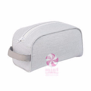 Gray Seersucker Toiletry Bag