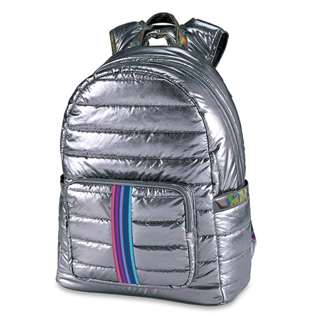 Puffer Gun Metal Backpack W/ Iridescent Accents