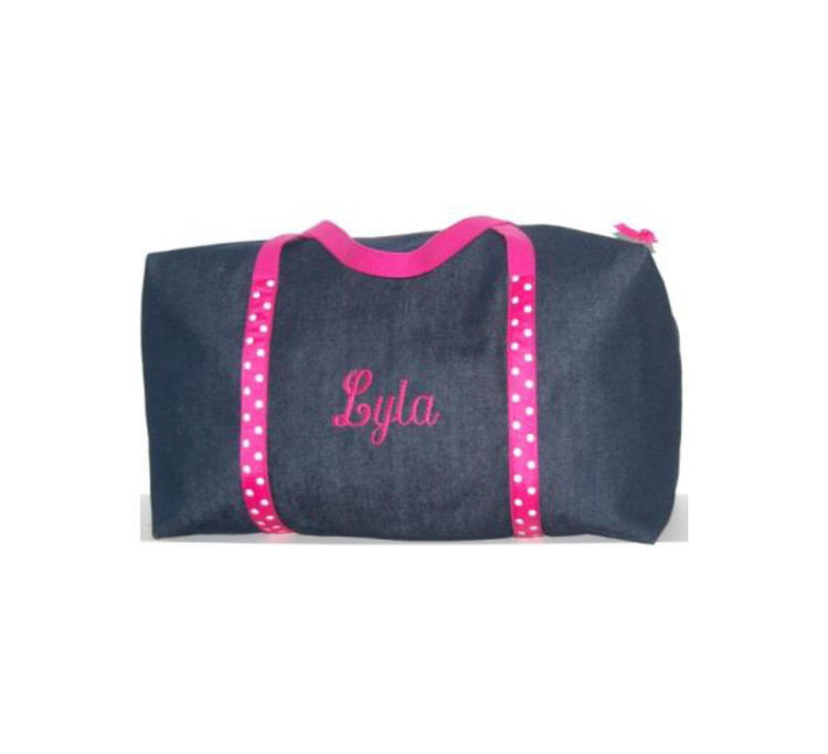 Girls Large Denim and Hot Pink and White Polka Dots Duffle
