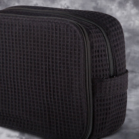 Black Waffle Toiletry Bag
