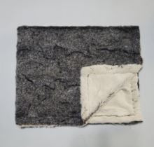 Glam Gray and Black Minky Blanket