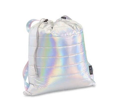 Iridescent Metallic Puffer Sling Backpack Bag w/ Pastel Stripes and White Stars