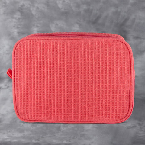 Coral Waffle Toiletry Bag
