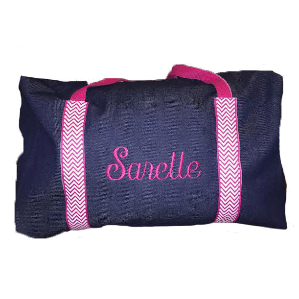 Girls Denim and Hot Pink Chevron Duffle
