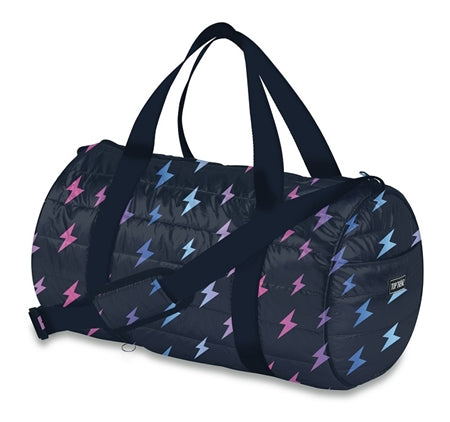 Navy Lightning Bolt Puffer Duffel