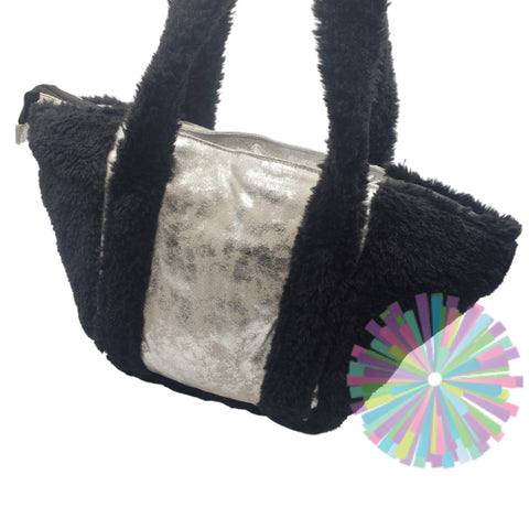 Black Sherpa and Silver Tote