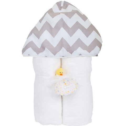 Gray Chevron Hooded Toddler Towel