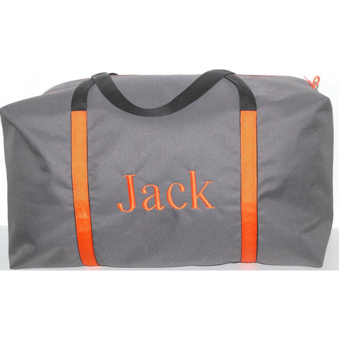 Boys Large Gray Duffle with Orange Trim
