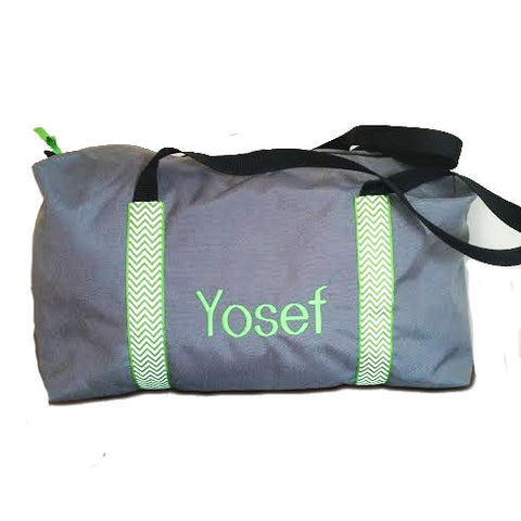 Boys Large Gray Duffle with Green Chevron Trim
