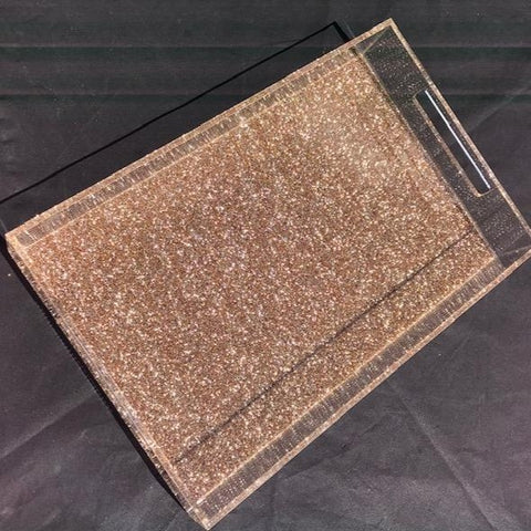 Large Gold Glitter Tray with Handles