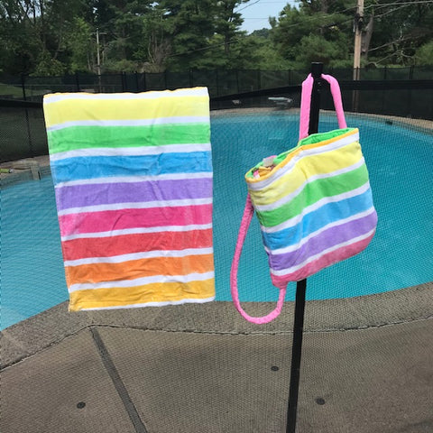Multi-Colored Striped Backpack Beach Kids Towel