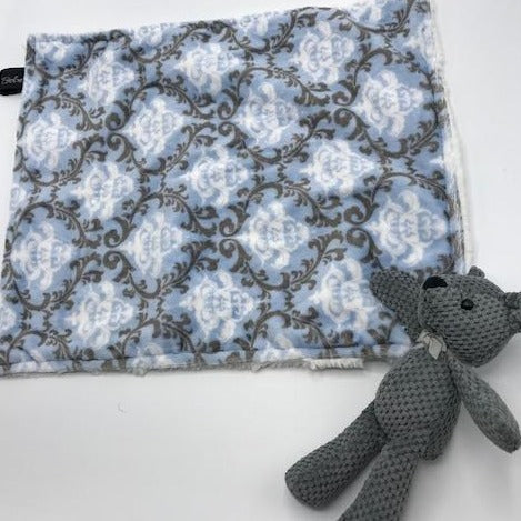 Patterned Lovie With Teddy Bear