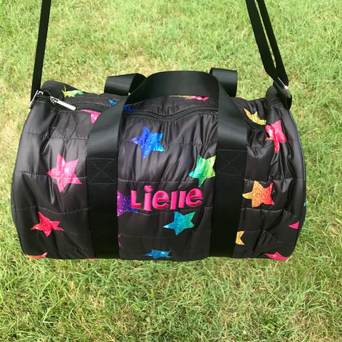 Black Puffer Duffle With Glitter Multi-Colored Stars