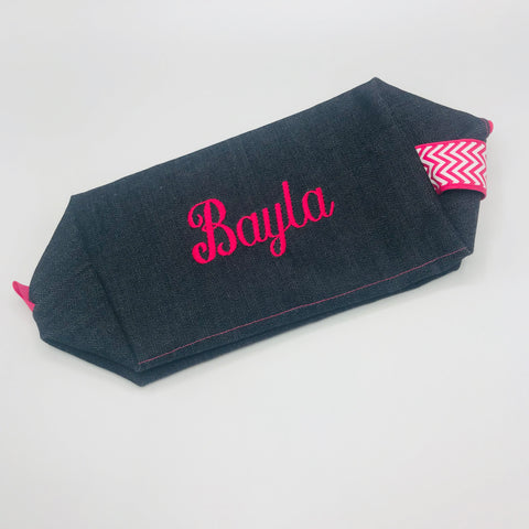 Girls Denim and Hot Pink Chevron Toiletry Bag