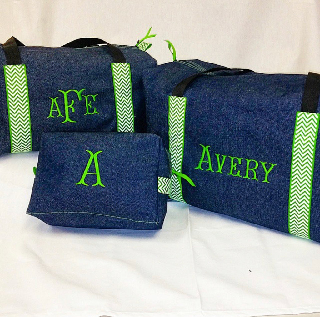 Boys Denim with Green Chevron Toiletry Bag