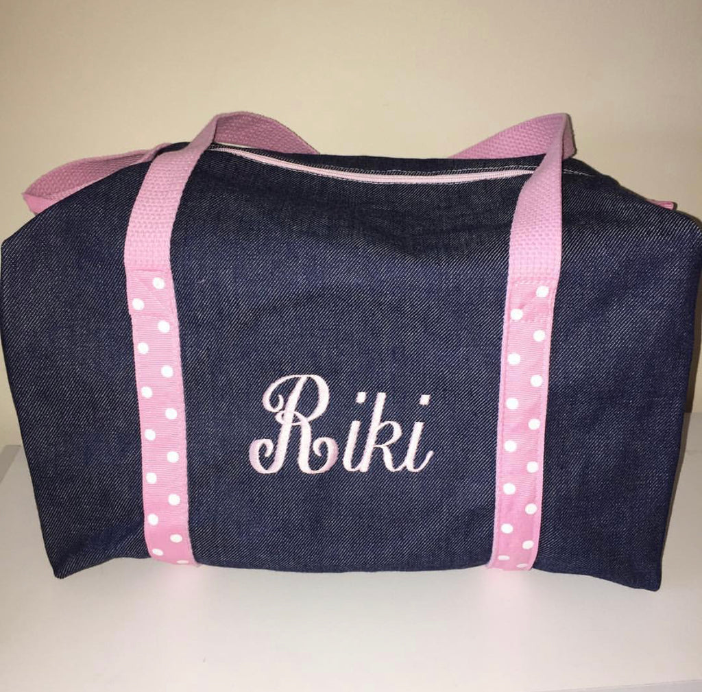 Girls Denim and Light Pink Polka Dots Duffle