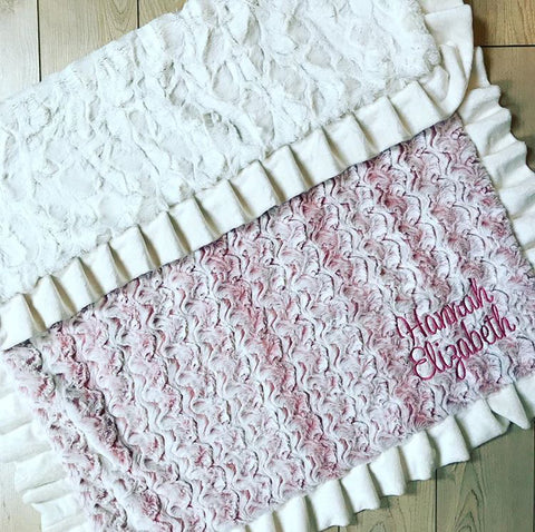 Large Pink and Cream Ruffle Minky Blanket