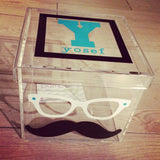 Glasses and Mustache Lucite Box
