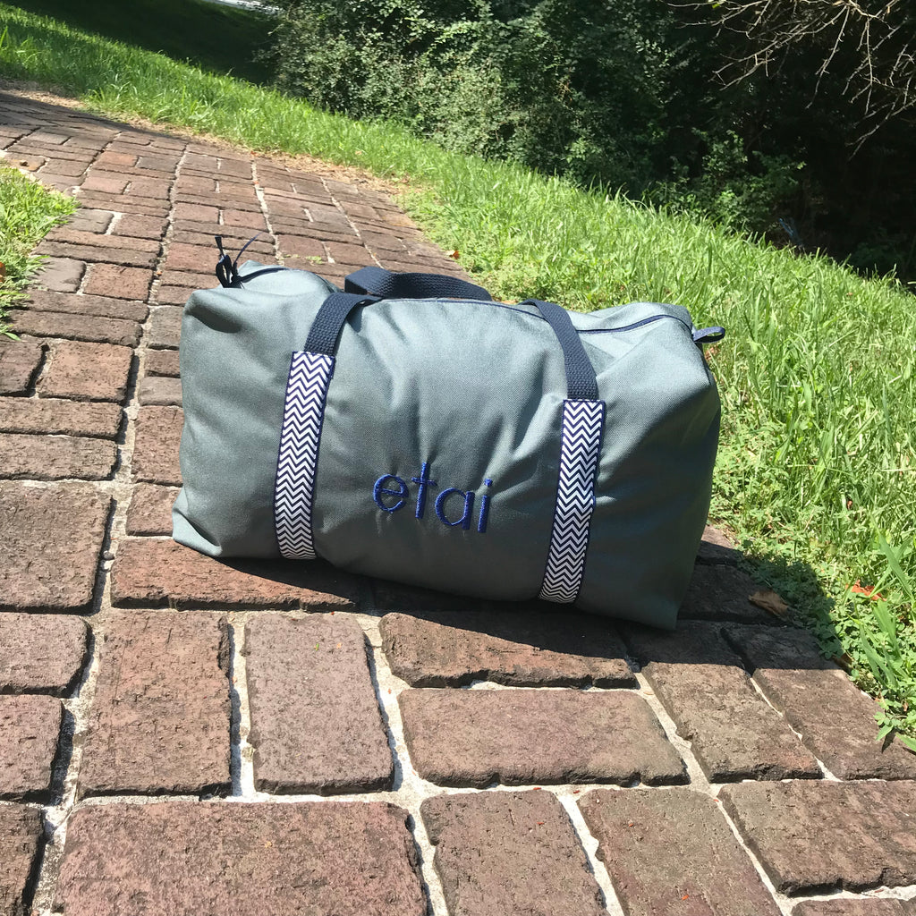 Boys Large Gray Duffle with Navy Chevron Trim