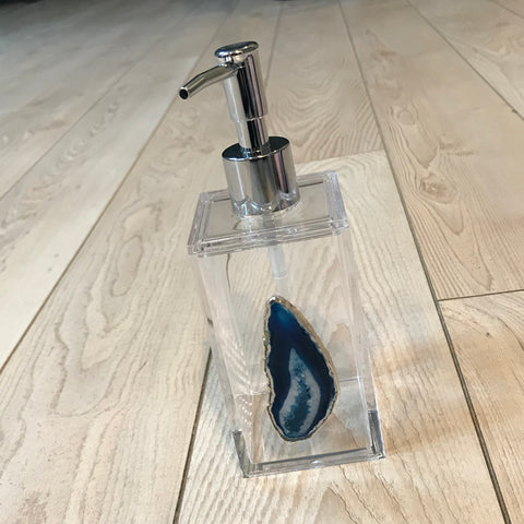 Lucite Soap Dispenser with Teal Stone