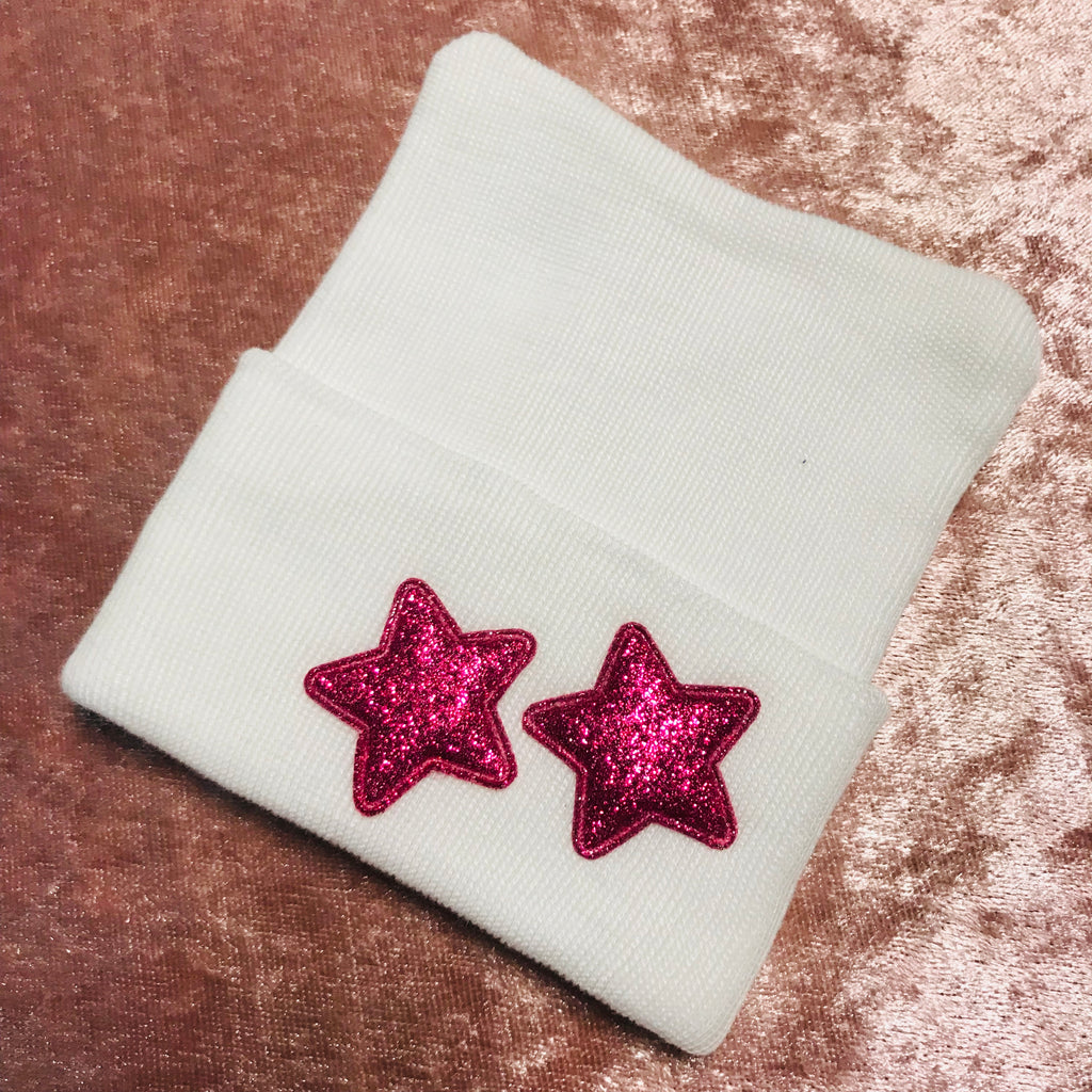 Hot Pink Sparkle Star Hospital Hat