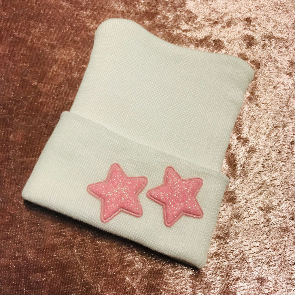 Pink Sparkle Star Hospital Hat