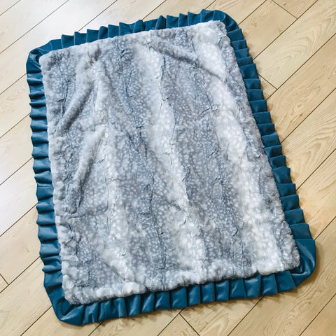 Gray Fawn and Blue Ruffle Blanket
