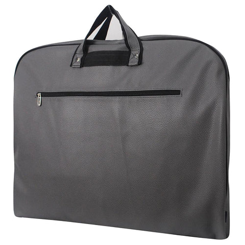 Faux Leather Gray Garment Bag