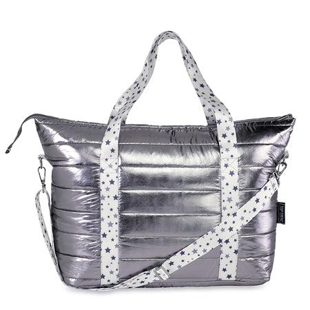 Metallic Puffer Tote w/ White and Gray Star Straps