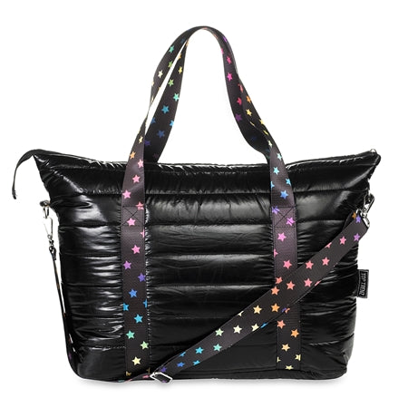 Black Puffer Tote W/ Rainbow Scatter Stars